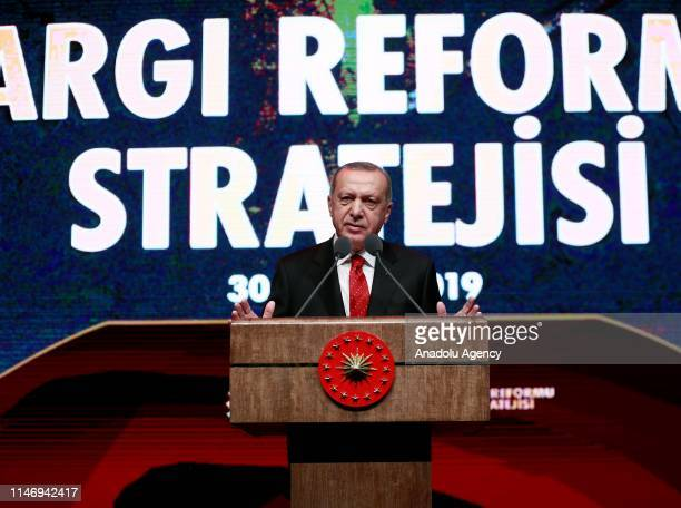 President of Turkey Recep Tayyip Erdogan makes a speech during Judicial Reform Strategy Program at the Bestepe People's Congress and Cultural Center...