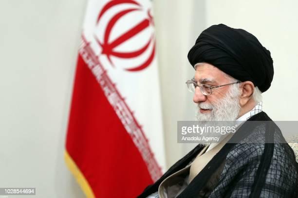 President of Turkey Recep Tayyip Erdogan meets Iran's religious leader Ayatollah Ali Khamenei after the trilateral summit between Turkey Iran and...