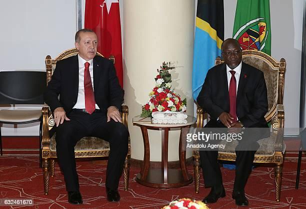 President of Turkey Recep Tayyip Erdogan meets President of Tanzania John Pombe Joseph Magufuli in Dar es Salaam Tanzania on January 23 2017