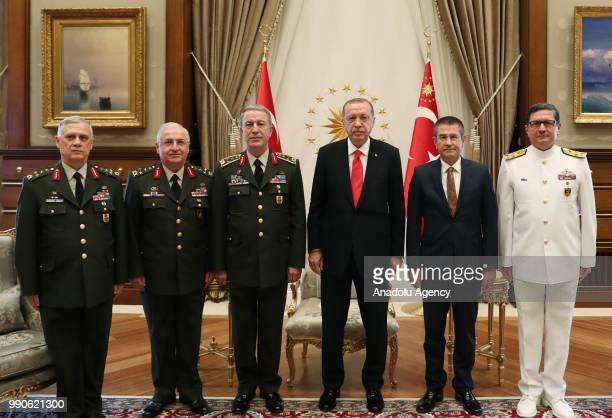 President of Turkey Recep Tayyip Erdogan meets Turkish Chief of General Staff Hulusi Akar Deputy Chief of the Turkish General Staff Umit Dundar...