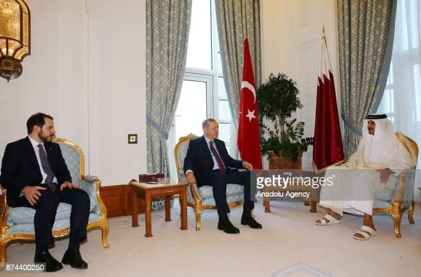 President of Turkey Recep Tayyip Erdogan meets with Emir of Qatar Sheikh Tamim bin Hamad Al Thani following an official welcoming ceremony at in Doha...