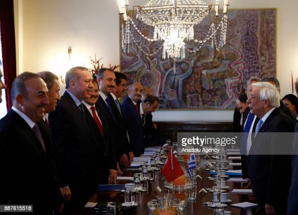 President of Turkey Recep Tayyip Erdogan meets with Greek President Prokopis Pavlopoulos after an official welcoming ceremony at Presidential Palace...