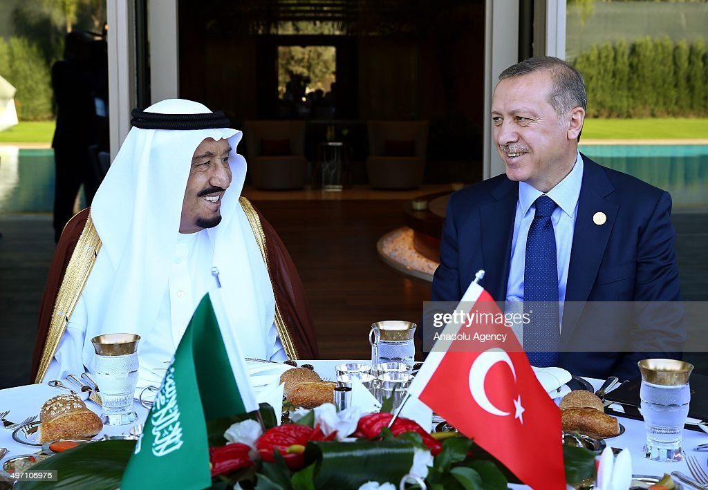 Turkish President Erdogan meets Saudi King Salman in Turkey's Antalya : News Photo
