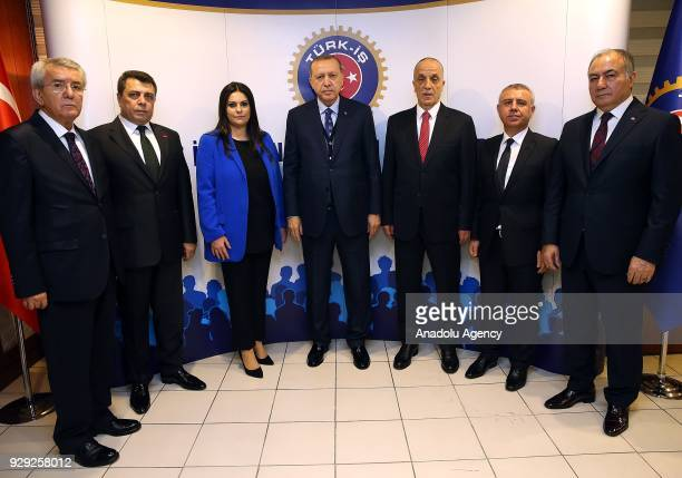 President of Turkey Recep Tayyip Erdogan poses for a family photo with Turkish Labour and Social Security Minister Julide Sarieroglu and President of...
