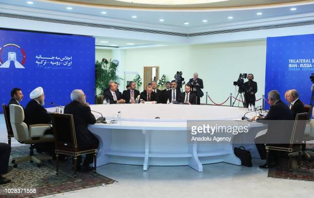 President of Turkey Recep Tayyip Erdogan President of Iran Hassan Rouhani and President of Russia Vladimir Putin attend the trilateral summit between...