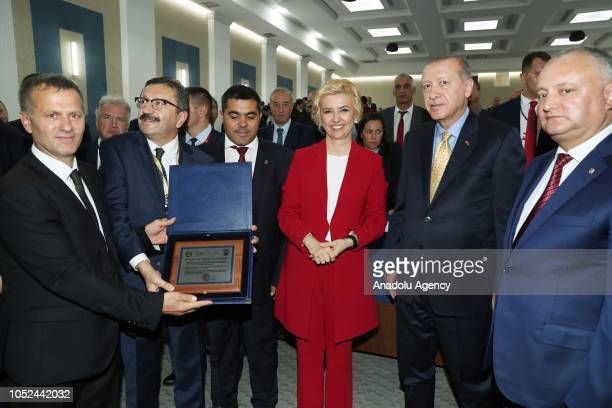 President of Turkey Recep Tayyip Erdogan President of Moldova Igor Dodon and Governor of the Autonomous Territorial Unit of Gagauzia Irina Vlah...