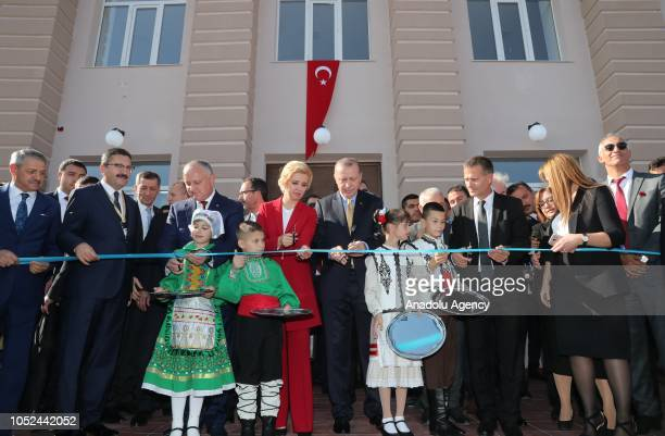 President of Turkey Recep Tayyip Erdogan President of Moldova Igor Dodon and Governor of the Autonomous Territorial Unit of Gagauzia Irina Vlah cut...