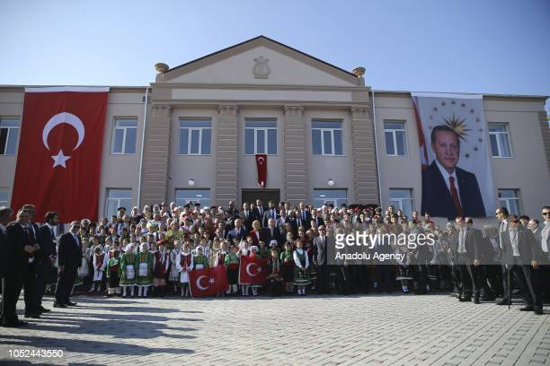 President of Turkey Recep Tayyip Erdogan President of Moldova Igor Dodon and Governor of the Autonomous Territorial Unit of Gagauzia Irina Vlah pose...