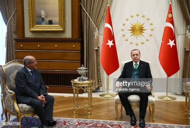 President of Turkey Recep Tayyip Erdogan receives Algerian Foreign Minister Abdelkader Messahel at Presidential Complex in Ankara Turkey on February...