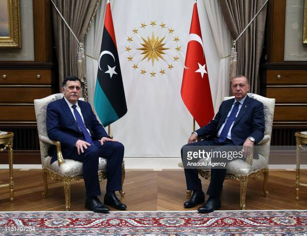 President of Turkey Recep Tayyip Erdogan receives Chairman of the Presidential Council of Libya Fayez alSarraj at Presidential Complex in Ankara...