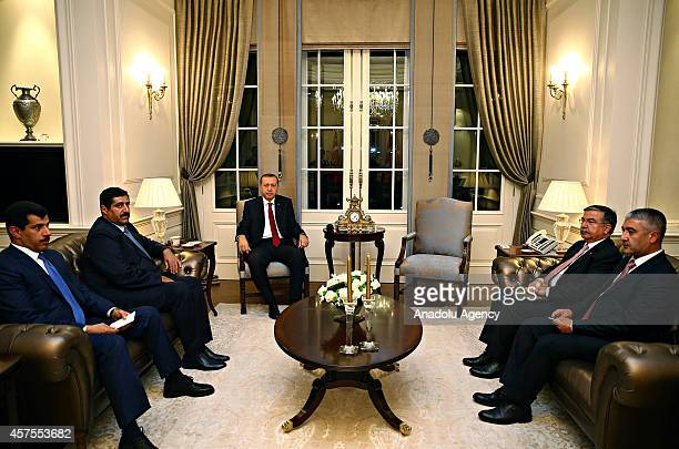 President of Turkey Recep Tayyip Erdogan receives Minister of Defence of Qatar Hamad Bin Ali Al Attiyah at Cankaya Presidential Palace in Ankara...