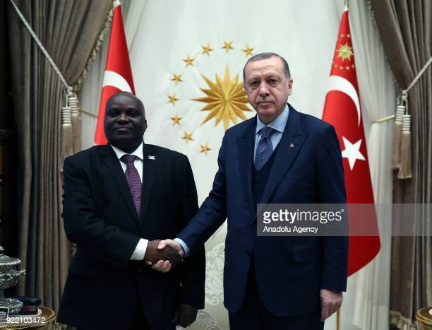 President of Turkey Recep Tayyip Erdogan receives President of the National Assembly of Burundi Pascal Nyabenda at Presidential Complex in Ankara...
