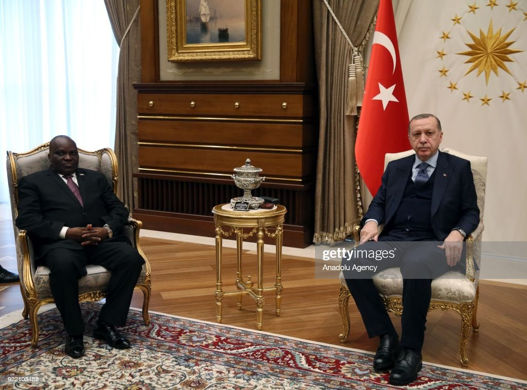 President of Turkey Recep Tayyip Erdogan (R) receives President of the National Assembly of Burundi Pascal Nyabenda (L) at Presidential Complex in Ankara, Turkey on February 21, 2018.