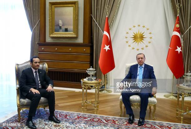 President of Turkey Recep Tayyip Erdogan receives Qatar's Foreign Minister Sheikh Mohammed bin Abdulrahman bin Jassim Al Thani at the Presidential...