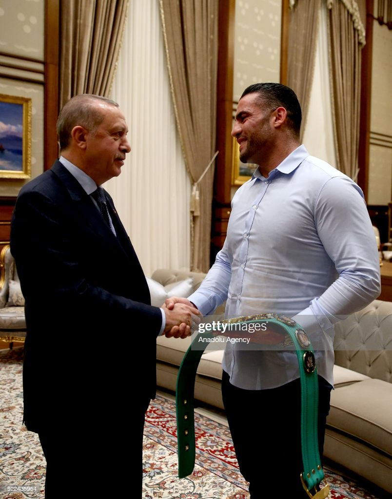 President of Turkey Recep Tayyip Erdogan (L) receives Syrian boxer Mahmut Omer Manuel Charr (R) at Presidential Complex in Ankara, Turkey on February 21, 2018.