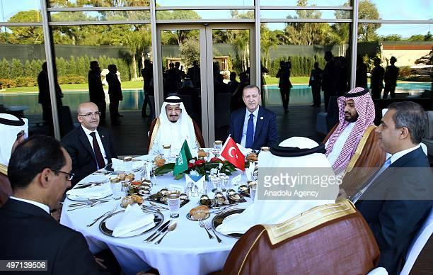 President of Turkey Recep Tayyip Erdogan Saudi King Salman bin Abdul Aziz Al Saud Turkish Minister of Finance Mehmet Simsek Head of the Turkey's...
