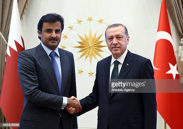 President of Turkey Recep Tayyip Erdogan shake hands with Amir of Qatar Sheikh Tamim bin Hamad al Thani as they meet at the presidential palace in...