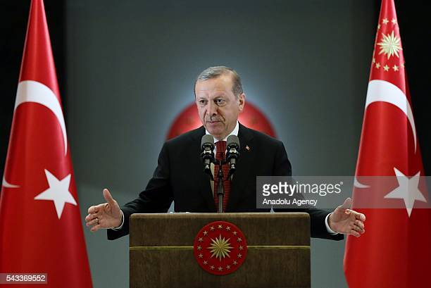 President of Turkey Recep Tayyip Erdogan speaks at Ramadan fastbreaking dinner at presidential complex in Ankara Turkey on June 27 2016