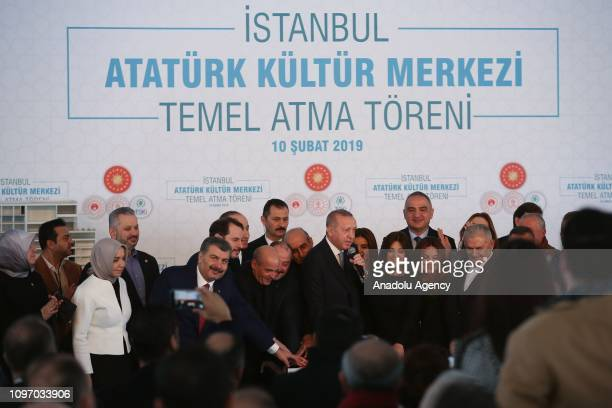 President of Turkey Recep Tayyip Erdogan speaks at the groundbreaking ceremony of Istanbuls iconic Ataturk Cultural Center on February 10 2019 in...
