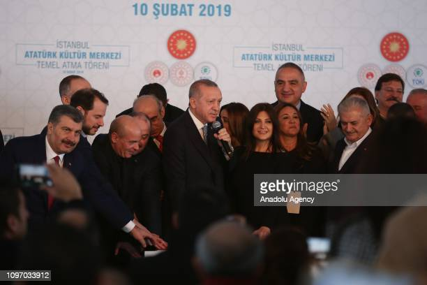 President of Turkey, Recep Tayyip Erdogan speaks at the groundbreaking ceremony of Istanbuls iconic Ataturk Cultural Center on February 10, 2019 in...