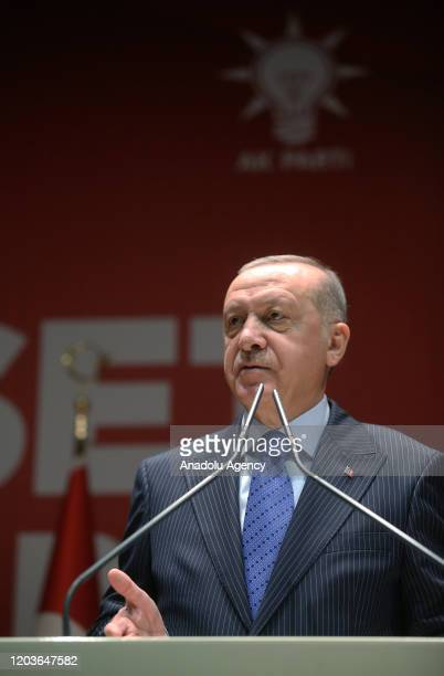 President of Turkey Recep Tayyip Erdogan speaks at the orientation day of first batch of Diplomacy Academy at Justice and Development Party...