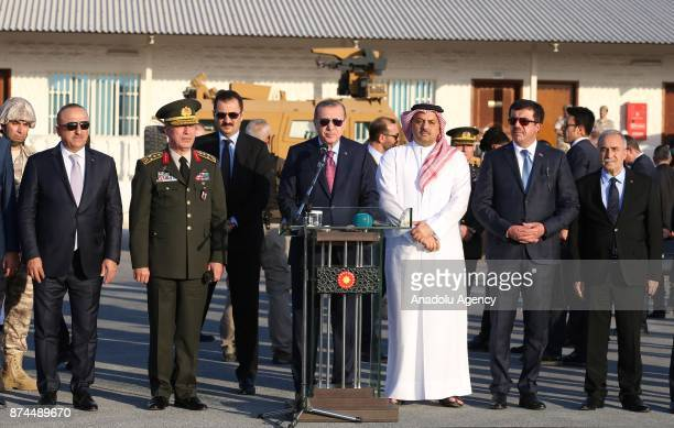 President of Turkey Recep Tayyip Erdogan speaks during his visit at the QatariTurkish Armed Forces Land Command base in Doha Qatar on November 15 2017