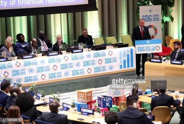 President of Turkey, Recep Tayyip Erdogan speaks during 'Sustainable Development Goals' summit within the 74th session of UN General Assembly in New...