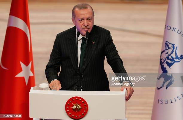President of Turkey Recep Tayyip Erdogan speaks during the academic year opening ceremony at Dokuz Eylul University in Izmir Turkey on October 19 2018