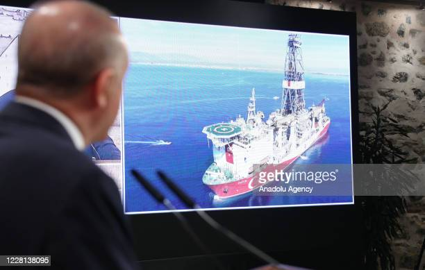 President of Turkey, Recep Tayyip Erdogan speaks on the discovery of a major natural gas reserve off Black Sea coast during a press conference at the...