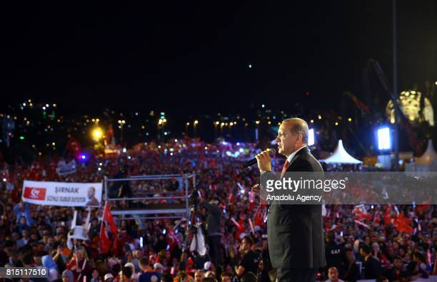 President of Turkey Recep Tayyip Erdogan spekas during a July 15 Democracy and National Unity Day's event to mark July 15 defeated coup's 1st...