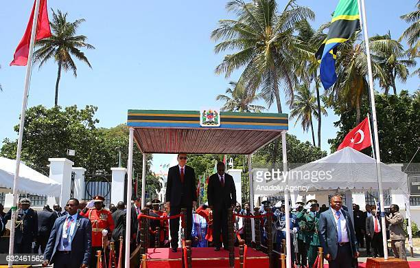 President of Turkey Recep Tayyip Erdogan stands next to the President of Tanzania John Pombe Joseph Magufuli during official welcoming ceremony in...