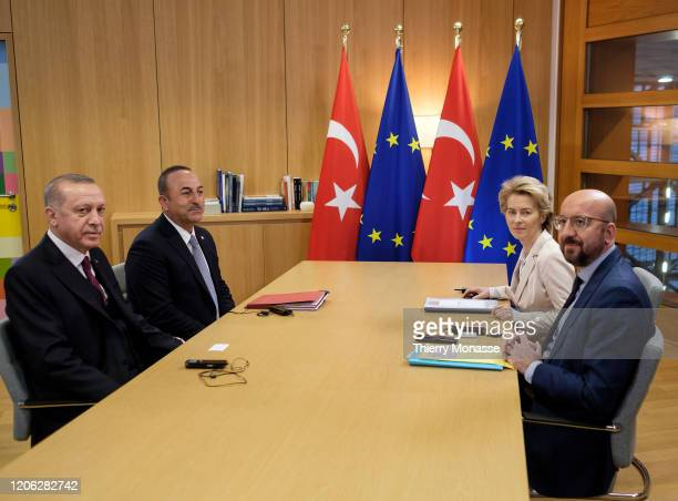 President of Turkey Recep Tayyip Erdogan the Turkish Minister of Foreign Affairs Mevlut Cavuoglu President of the European Commission Ursula von der...