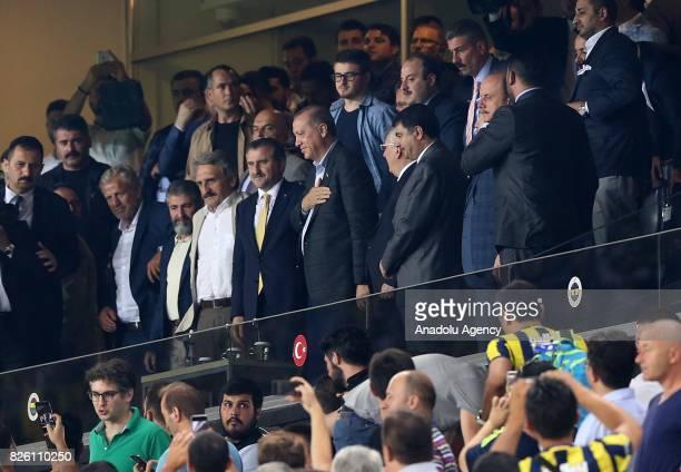 President of Turkey Recep Tayyip Erdogan Turkish Youth and Sports Minister Osman Askin Bak and Chairman of Fenerbahce Aziz Yildirim attend the UEFA...