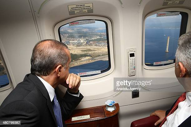 President of Turkey Recep Tayyip Erdogan views construction site of the world's largest suspension bridge for the GebzeIzmir Highway during an aerial...