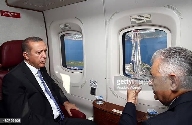 President of Turkey Recep Tayyip Erdogan views construction site of the 3rd bridge over Bosphorus strait during an aerial tour over Turkey's mega...