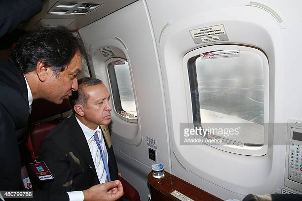 President of Turkey Recep Tayyip Erdogan views the construction site of the Istanbul's 3rd international airport which is planned to be the largest...