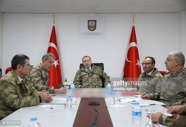 President of Turkey Recep Tayyip Erdogan visits the Operating Base on the sixth day of 'Operation Olive Branch' in Hatay Turkey on January 25 2018...