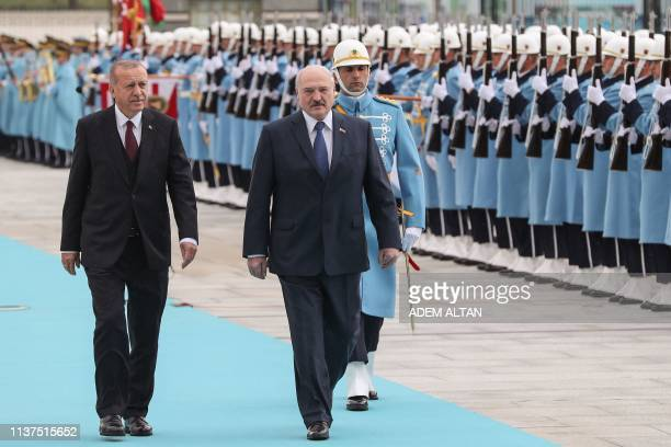 President of Turkey Recep Tayyip Erdogan welcomes President of Belarus Alexander Lukashenko with an official ceremony at the Presidential Complex in...