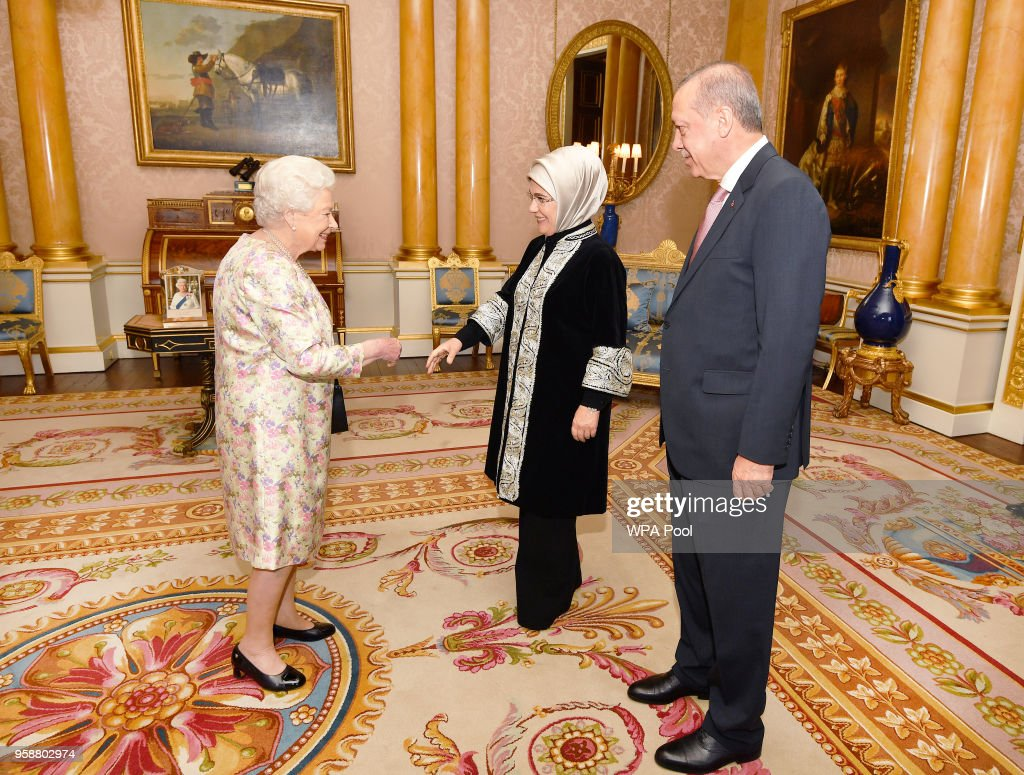 President of Turkey Recep Tayyip Erdogan with his his wife Emine is greeted by Queen Elizabeth II during a private audience at Buckingham Palace on May 15, 2018 in London, England.