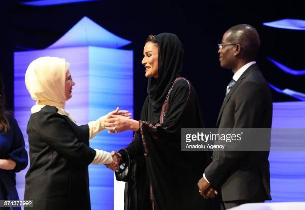 President of Turkey Recep Tayyip Erdogan's wife Emine Erdogan and former Emir of the State of Qatar Sheikh Hamad bin Khalifa Al Thani's wife Sheikha...