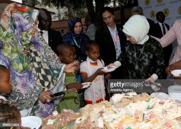 N'DJAMENA CHAD DECEMBER 26 President of Turkey Recep Tayyip Erdogan's wife Emine Erdogan and President of Chad Idriss Deby's wife Hinda Deby meet...