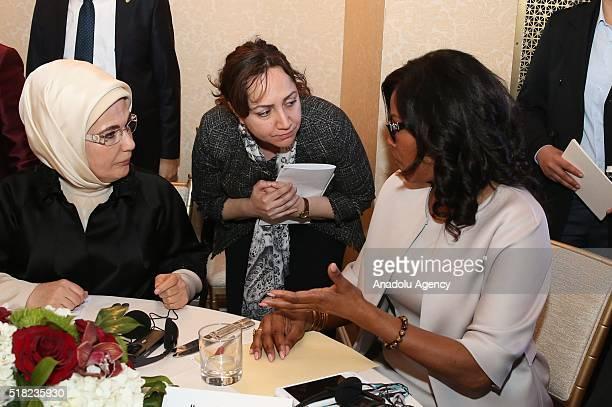 President of Turkey Recep Tayyip Erdogan's wife Emine Erdogan meets daughter of Malcom X Ilyasah Shabazz during the Syrian refugee crisis conference...