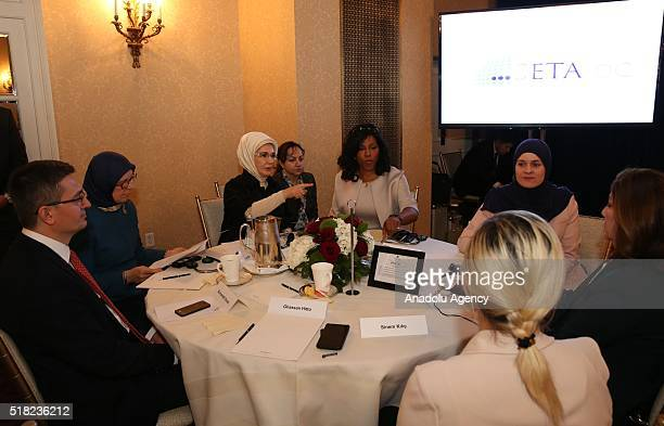 President of Turkey Recep Tayyip Erdogan's wife Emine Erdogan meets daughter of Malcom X Ilyasah Shabazz founder of the 'NuDay Syria' Nadia Alawa and...