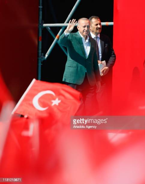 President of Turkey the leader of Turkey's ruling Justice and Development Party Recep Tayyip Erdogan addresses the crowd during a campaign rally...