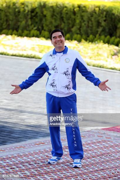 President of Turkmenistan Gurbanguly Berdimuhamedov is seen as he attends the opening ceremony of AkhalTeke Horse Beauty Contest within annual...