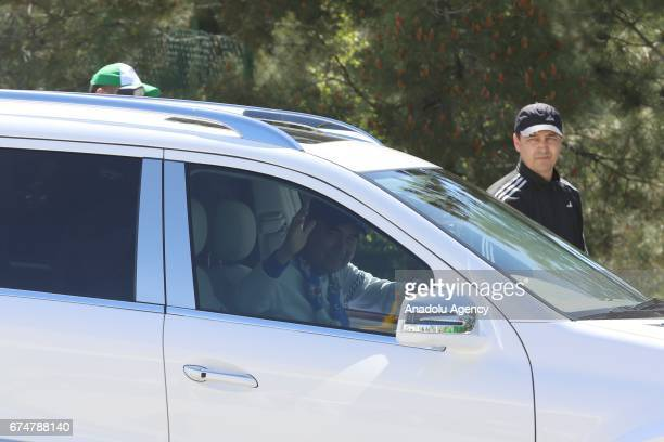 President of Turkmenistan Gurbanguly Berdimuhamedov leaves after the opening ceremony of AkhalTeke Horse Beauty Contest within annual Turkmen Racing...