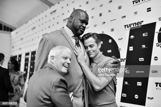 President of Turner David Levy Shaquille O'Neal and Chris Pine attend the Turner Upfront 2018 arrivals on the red carpet at The Theater at Madison...