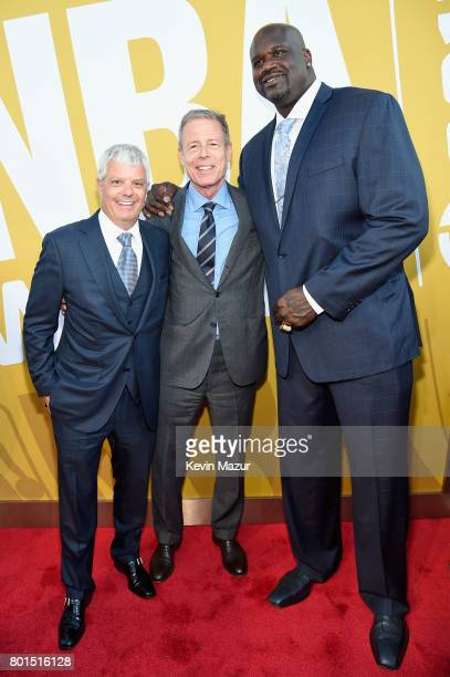 President of Turner David Levy Time Warner CEO Jeff Bewkes and NBA Hall of Famer Shaquille O'Neal attend the 2017 NBA Awards Live on TNT on June 26...