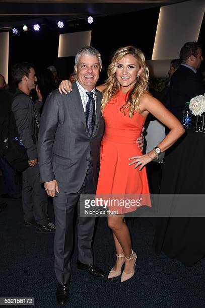 President of Turner System David Levy and actress Jessica Lowe attend Turner Upfront 2016 reception at The Theater at Madison Square Garden on May 18...