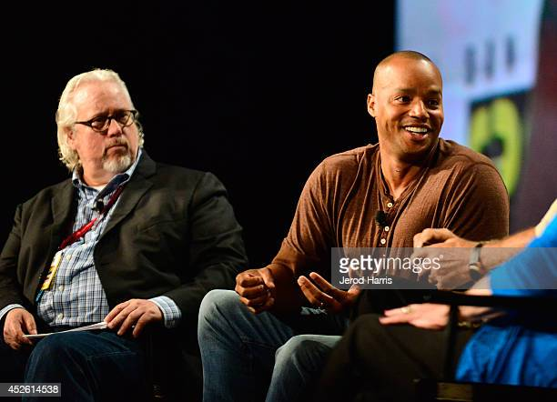 President of TV Land Larry W Jones and actor Donald Faison speak onstage at TV Land's Legends Of TV Land Panel during the 2014 Comic Con...
